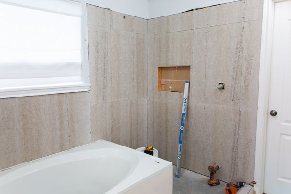 tile backer board installed in the bathroom