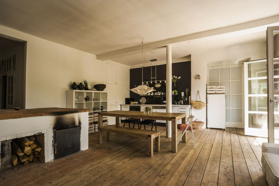 Rustic Kitchen With Wide Plank Flooring