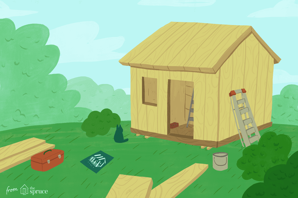 An illustration of a shed being built