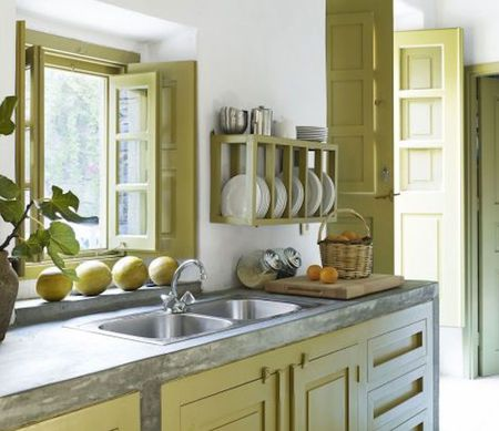 Calm Yellow Green Color Kitchen