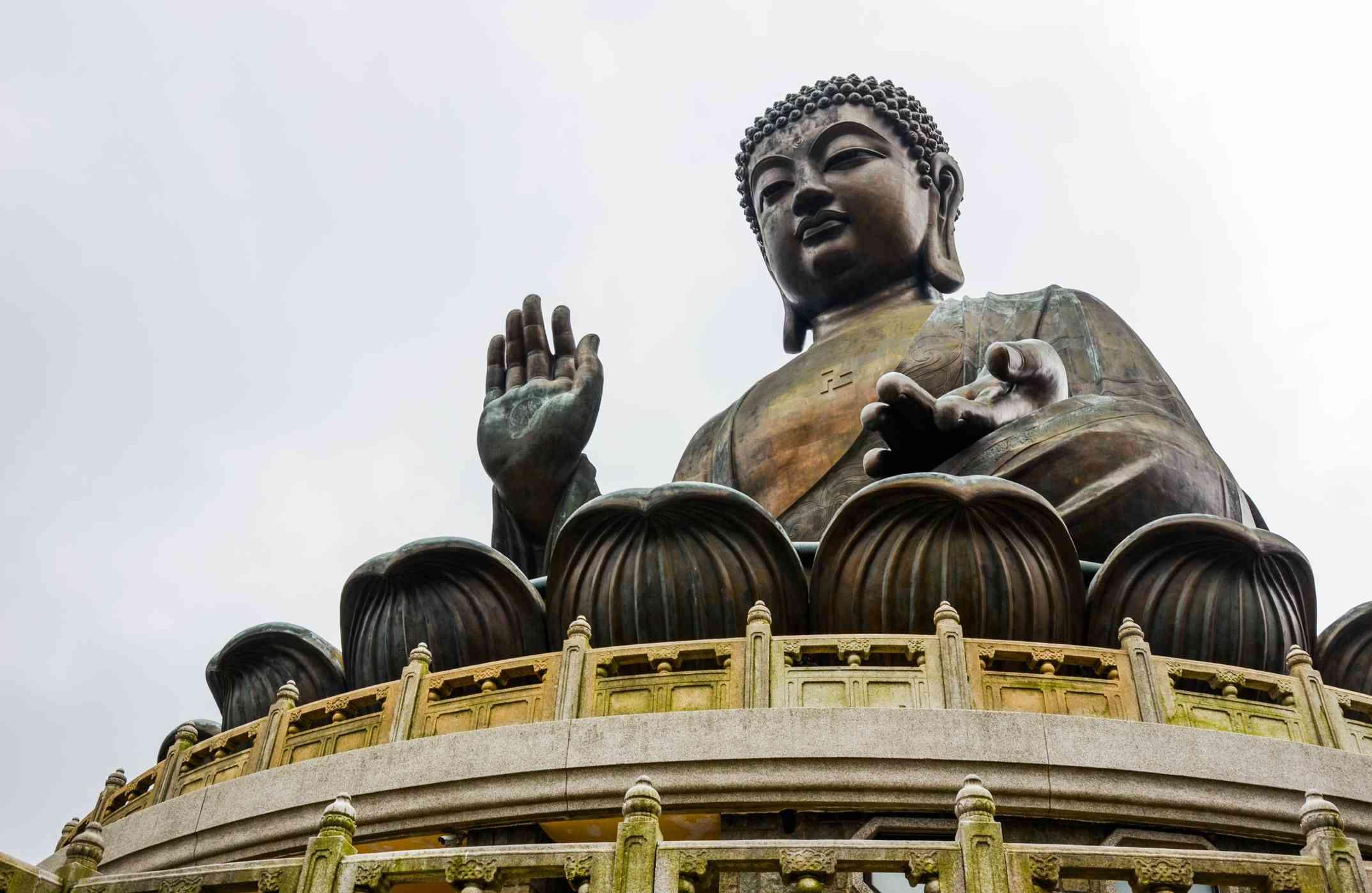 Buddha statue on a lotus flower