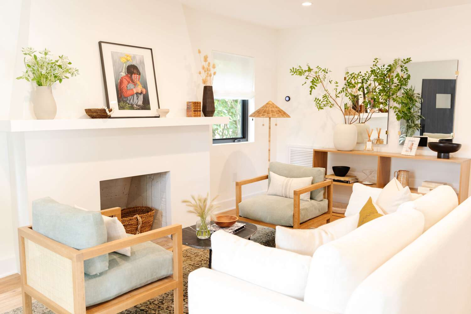 Living room with white couches
