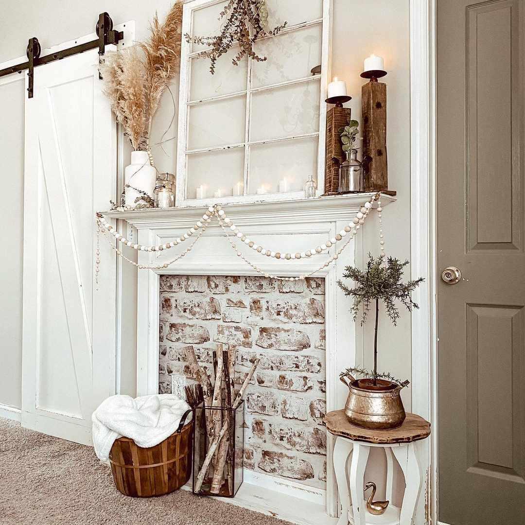 brick wallpaper behind fireplace