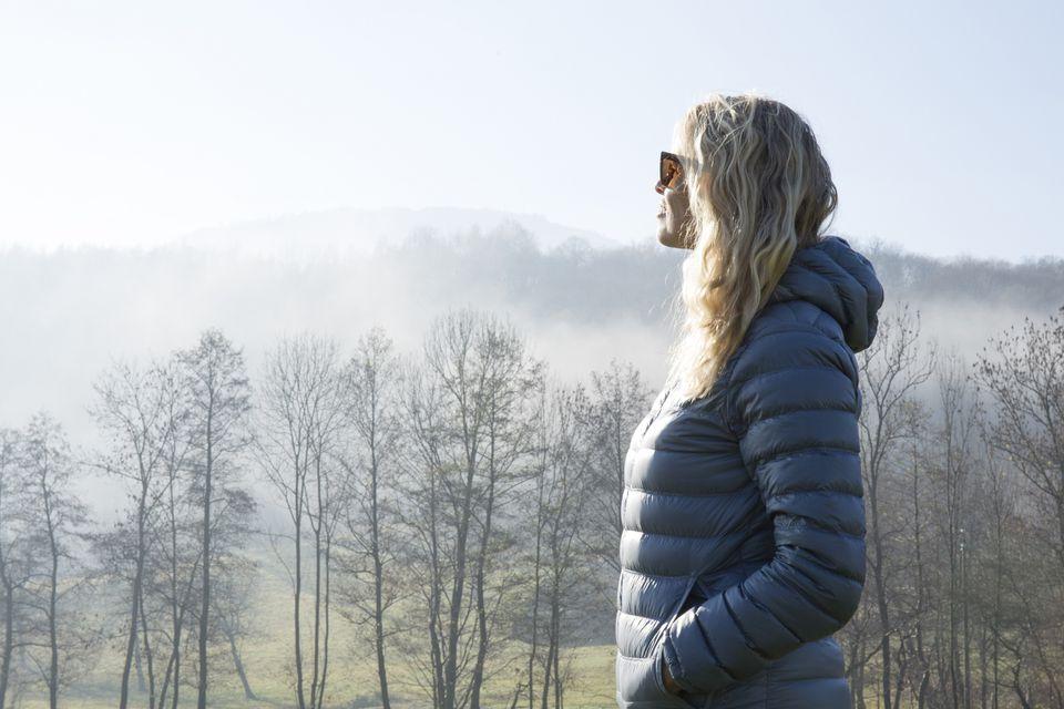 Woman wearing a down coat