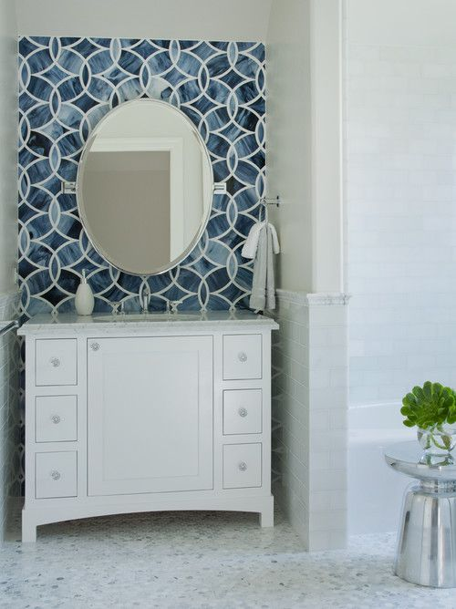 Dramatic blue bathroom tile