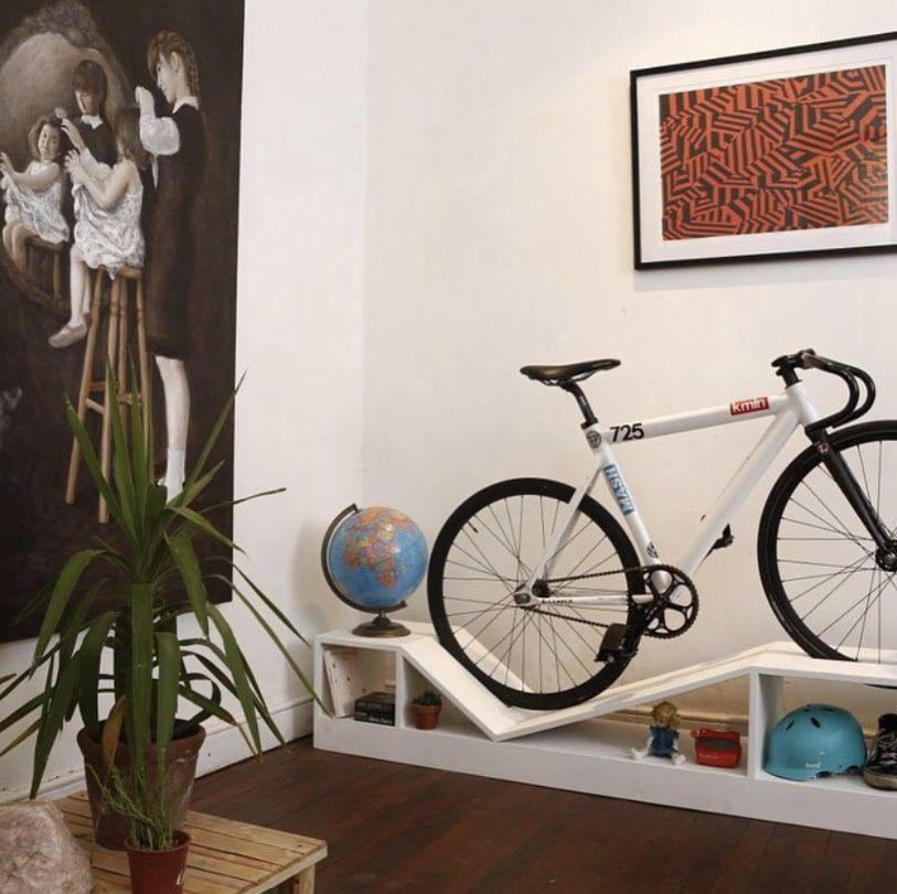 a bike storage shelf