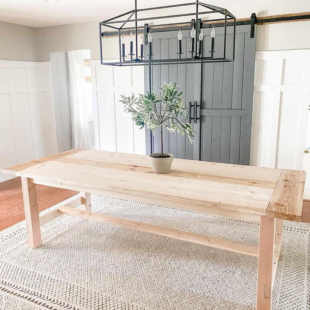 Dining room with gray sliding door