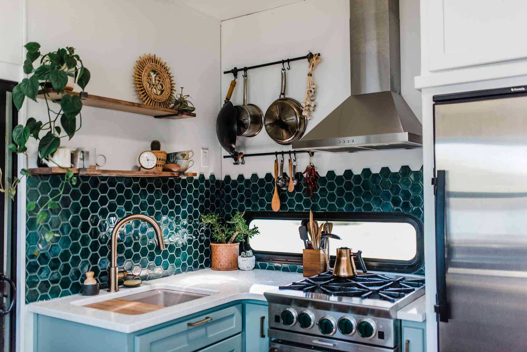 handcrafted green hexagon backsplash