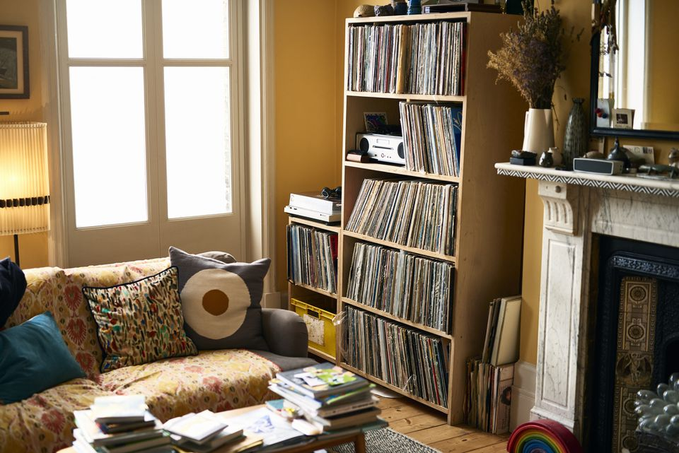 Living room with record collection