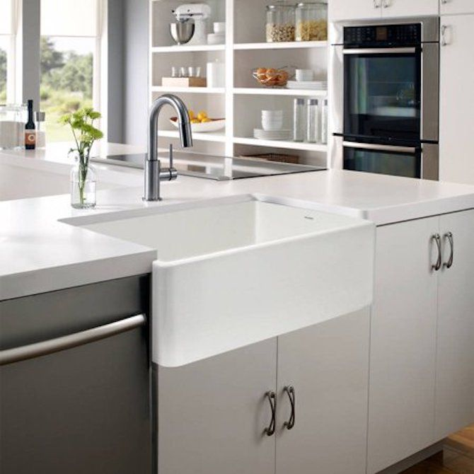 Houzer Platus Series Apron-Front Fireclay Single Bowl Kitchen Sink, 33