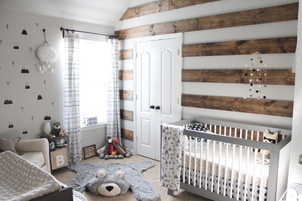 Nordic nursery with rustic woodland theme