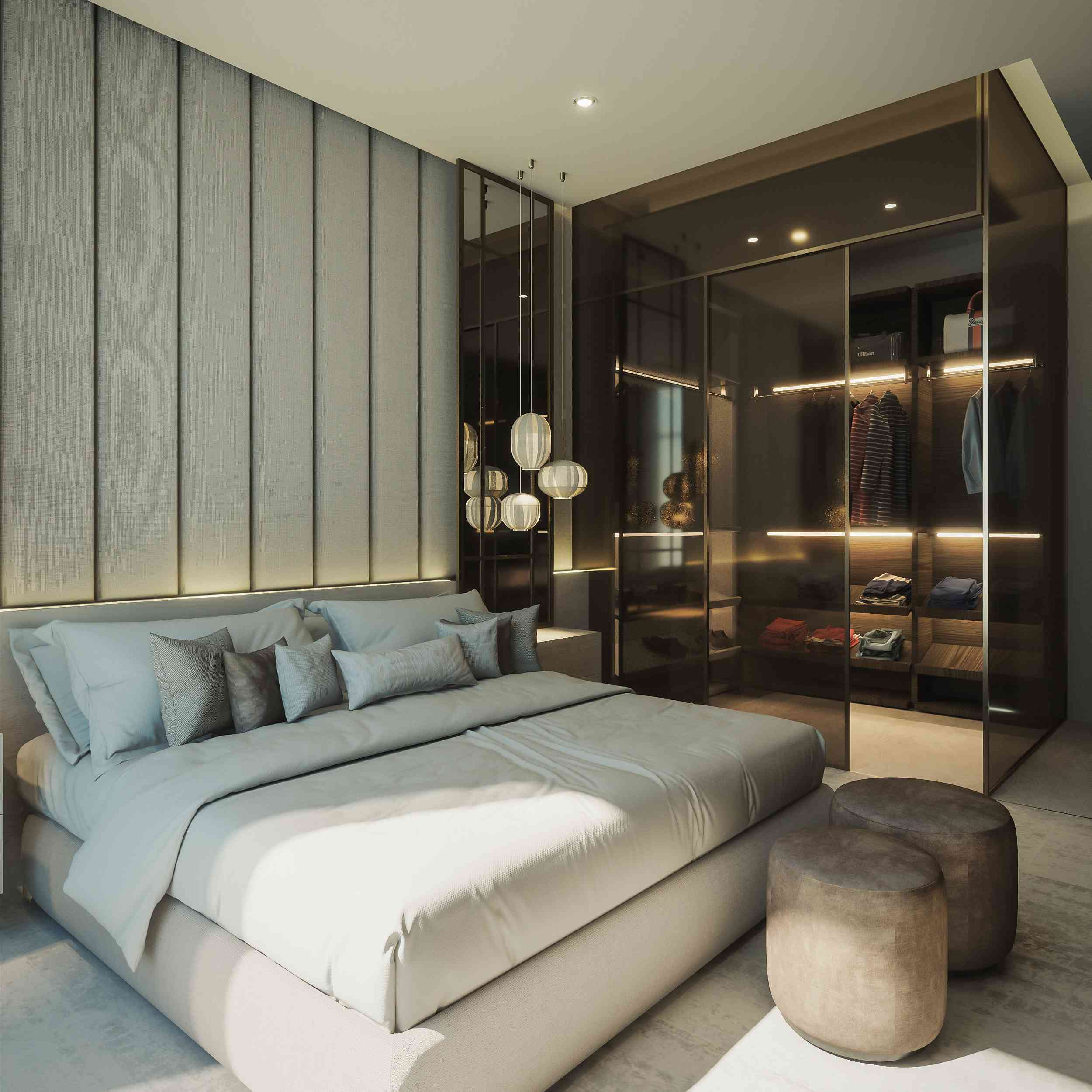 modern luxe bedroom with gray and blue tones