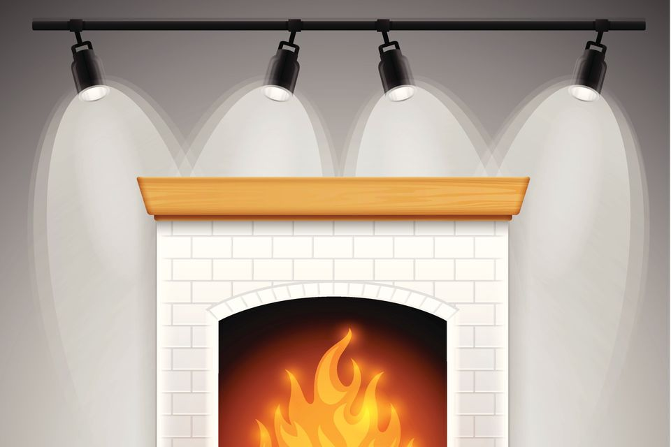 Track lighting with fireplace