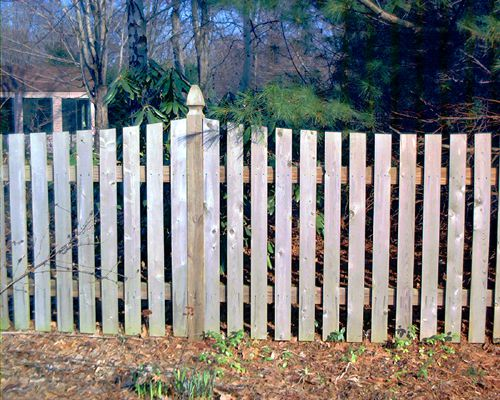 """Picture of picket fence sporting the """"flat-top"""" board style."""