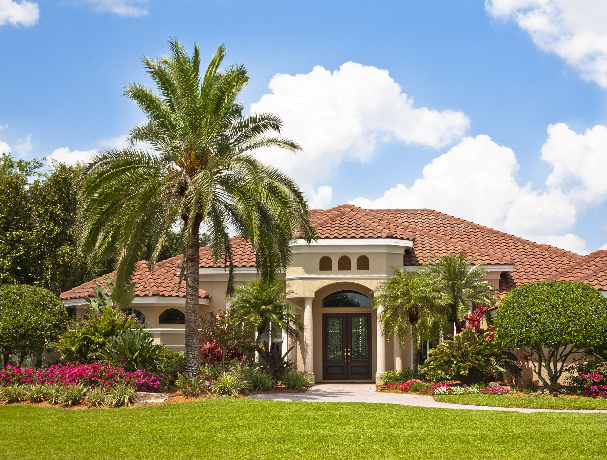 Palm trees in front yard with tiled-roof house in background.