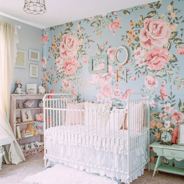 Blue and pink floral nursery
