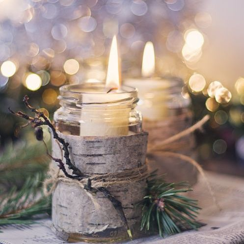 Birch-wrapped candle