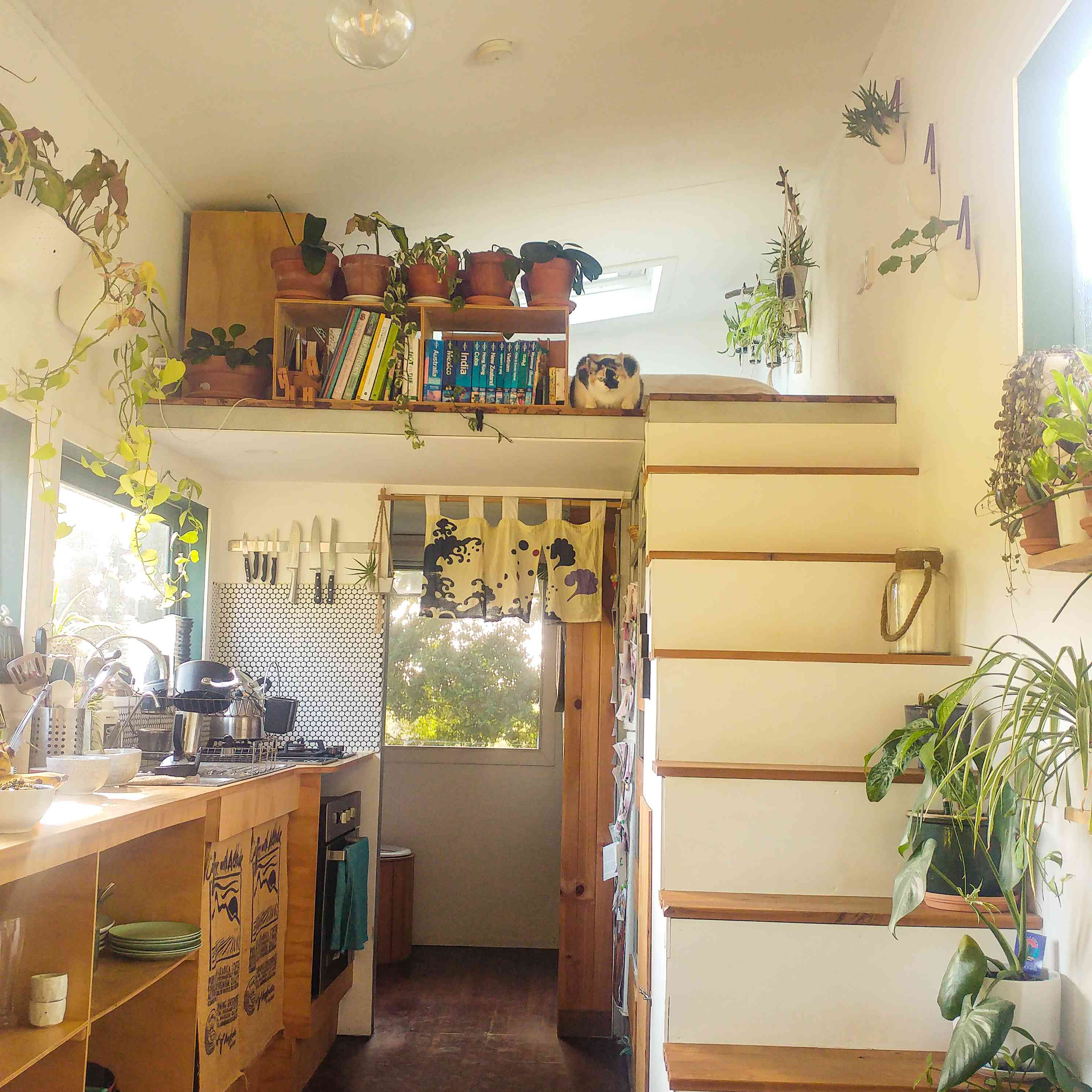 The inside of the Living Tiny and Green off-grid tiny home in Byron Bay, Australia