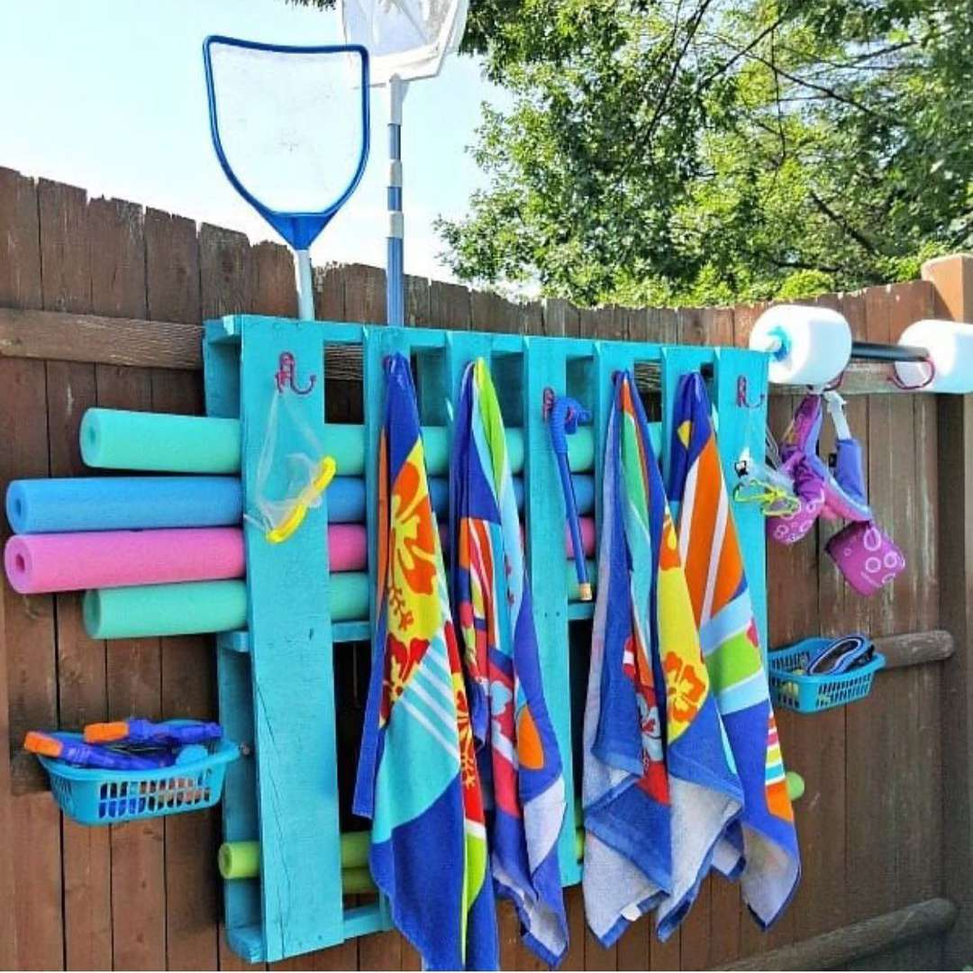 Wood pallet with pool noodles