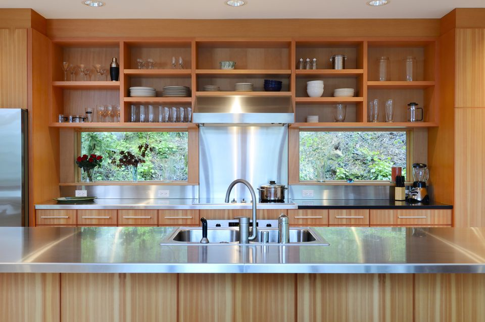 Kitchen with Beautiful Wood Open Shelves 470623573