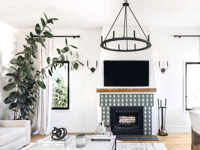 Living room with white walls, rubber tree in corner and patterned fireplace with in middle