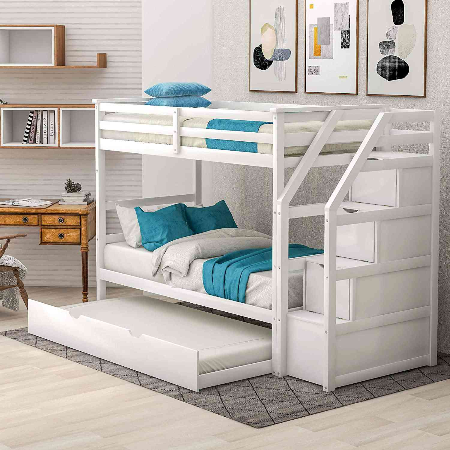 Harper and Bright Designs Twin Over Twin Bunk Bed with Stairway, Trundle, and Storage Drawers