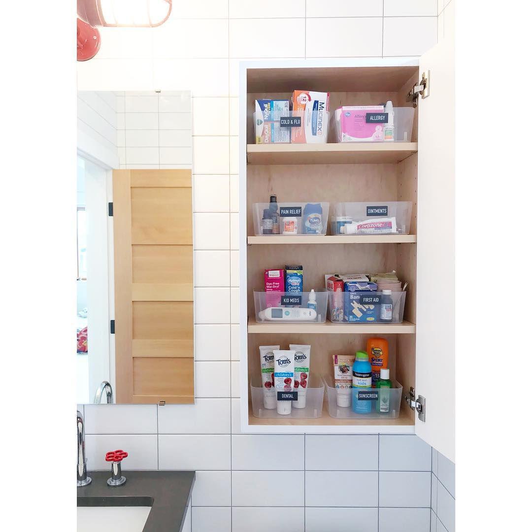 Organized bathroom cabinet