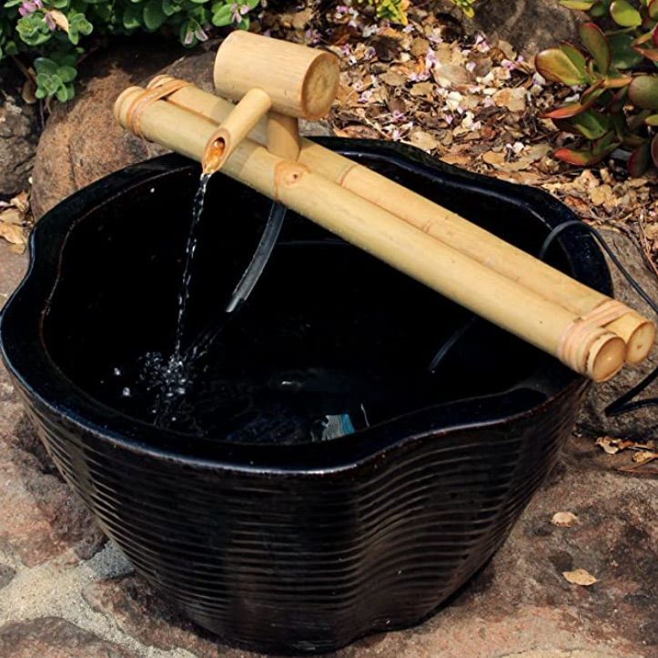 Bamboo Accents Low-Profile Deck Water Fountain