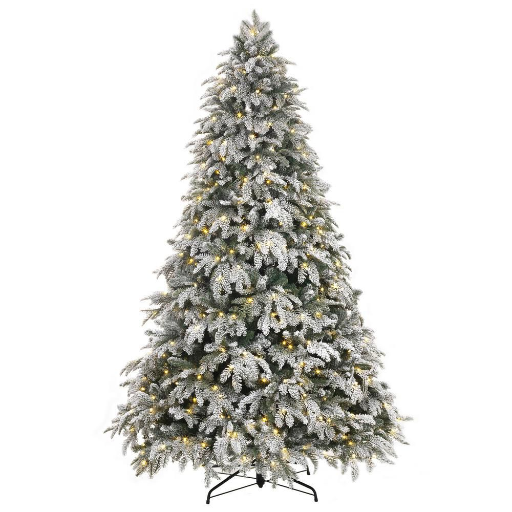 best snow covered 75 ft pre lit led flocked mixed pine artificial christmas tree with 500 warm white lights - Best Deals On Artificial Christmas Trees