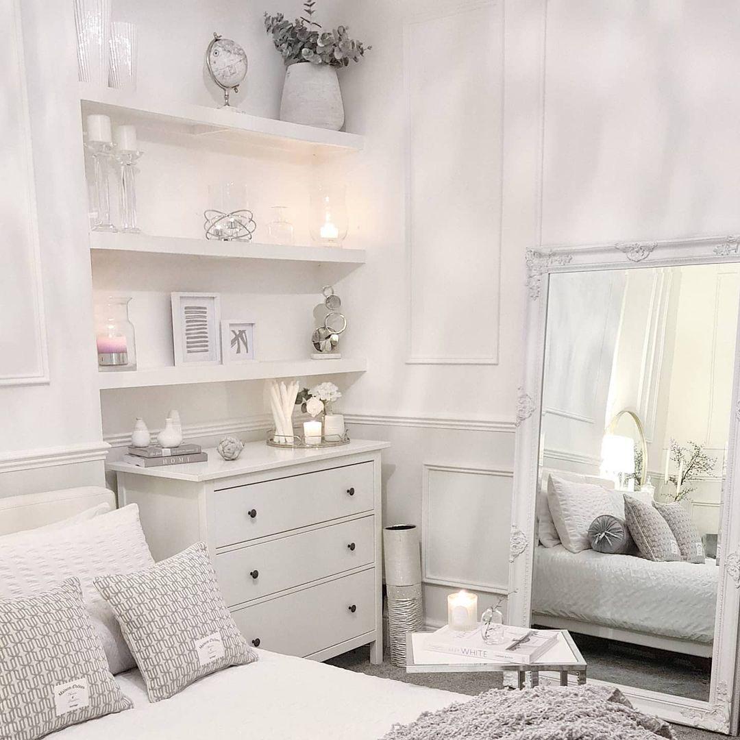 white and glass shelf