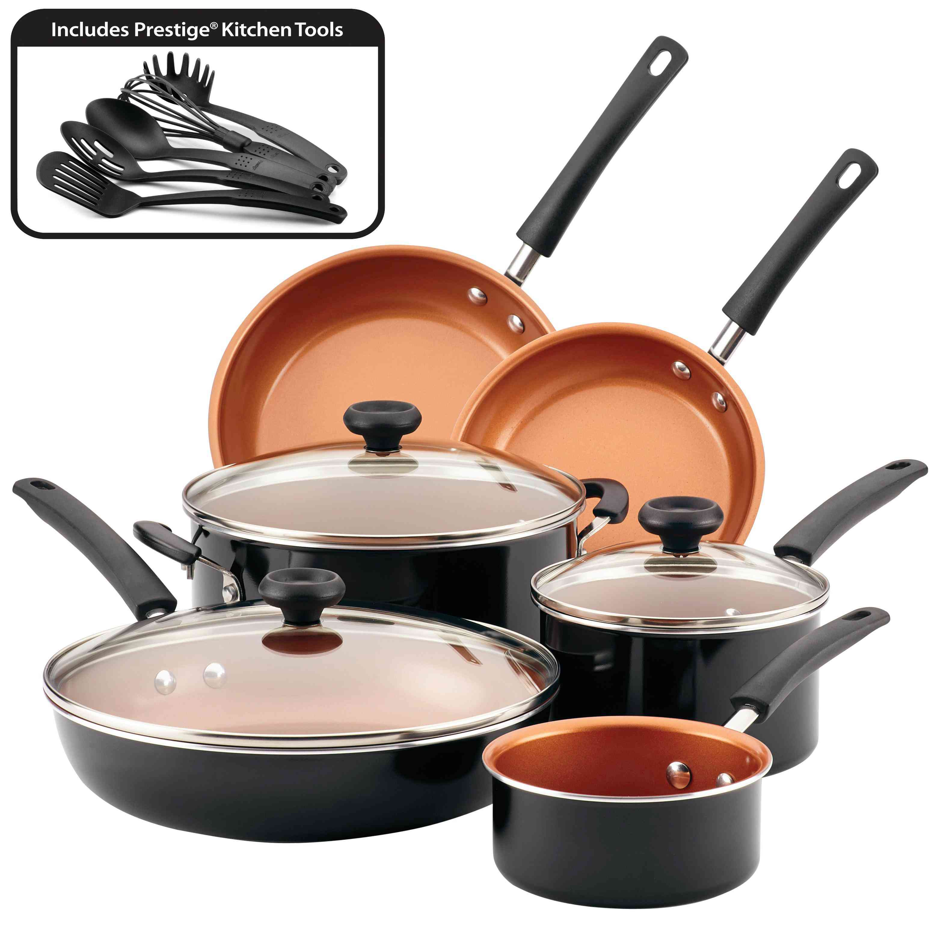 Farberware Easy Clean Pro Nonstick Black Cookware Set, 14 Piece