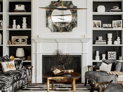 black, white, and gold living room