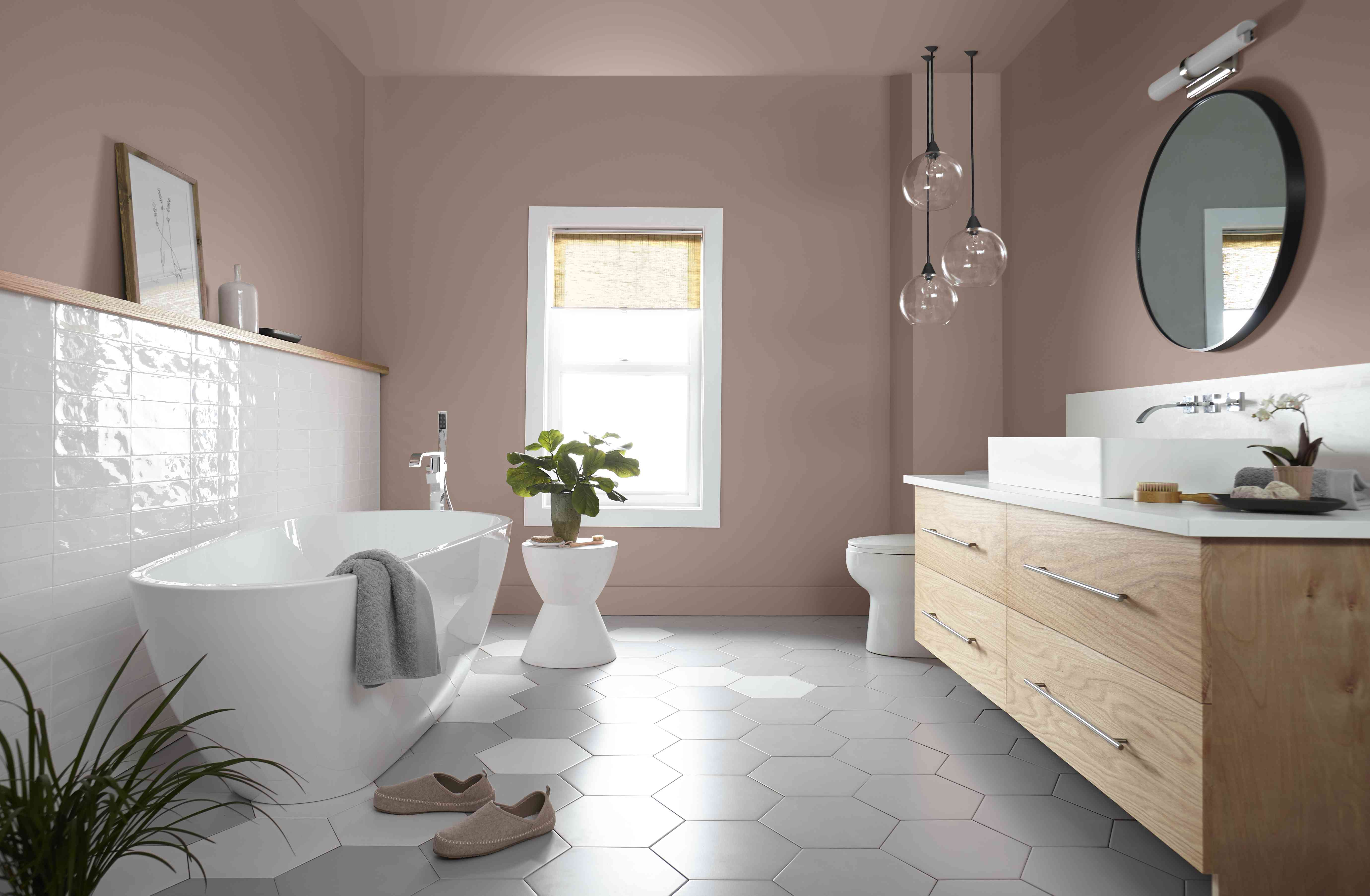 neutral paint on the walls of this bathroom help create a calming effect