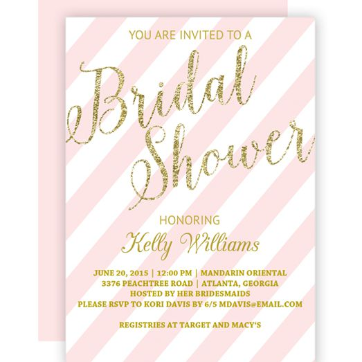 a pink and glitter bridal shower invite