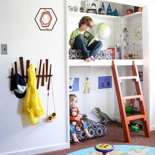 Kids' room with closet bunk bed