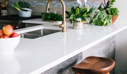 sparkling clean white countertop