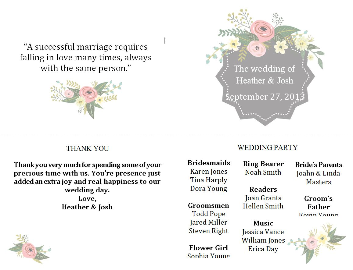 A Floral Wedding Program Template