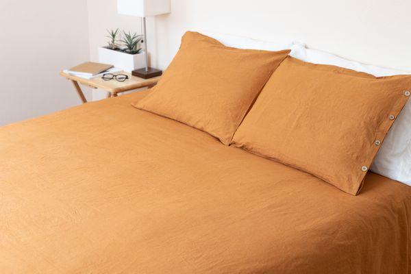 Duvet cover on bed