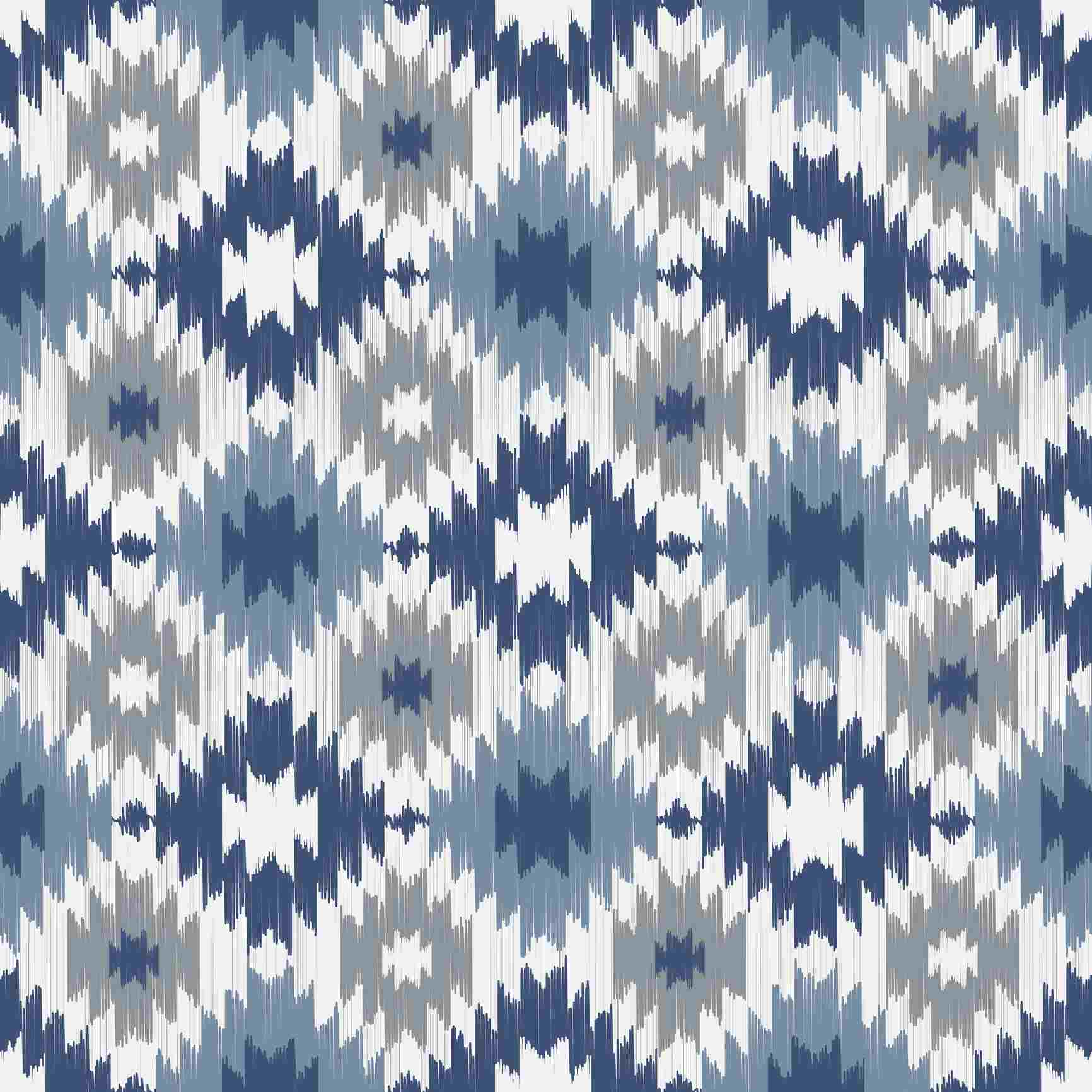 Ikat pattern in blue and gray