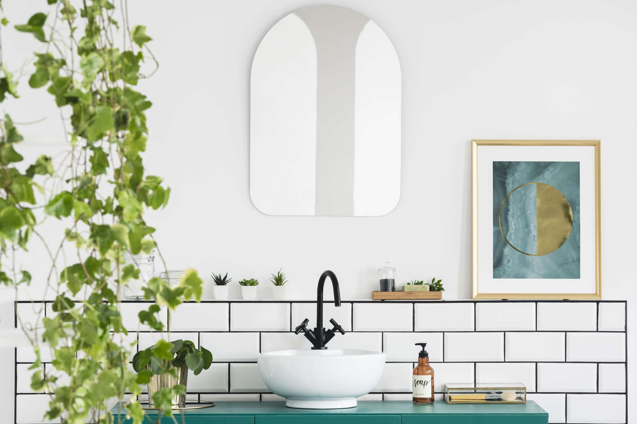 White bathroom with black and teal accents with aplant