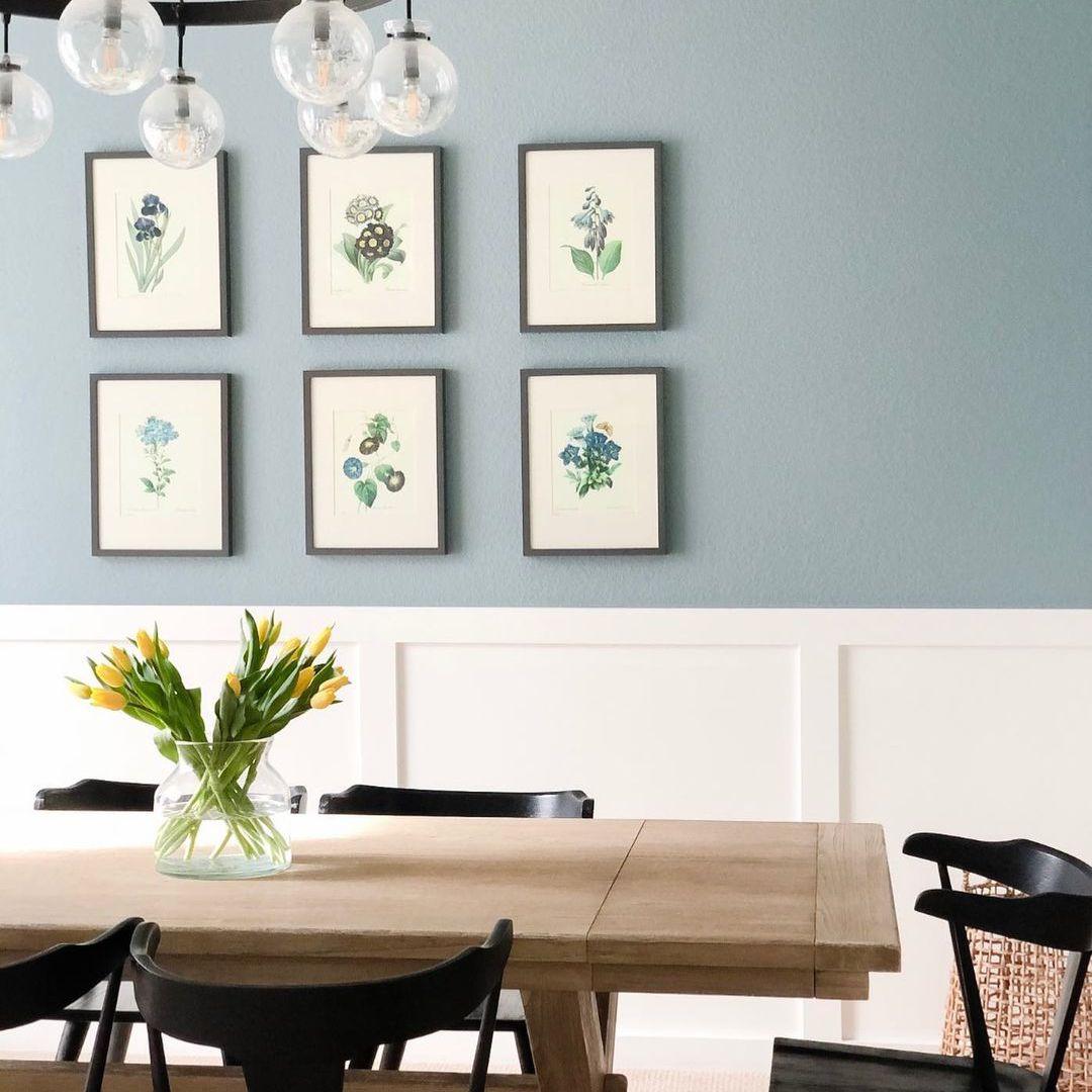 floral prints on blue walls