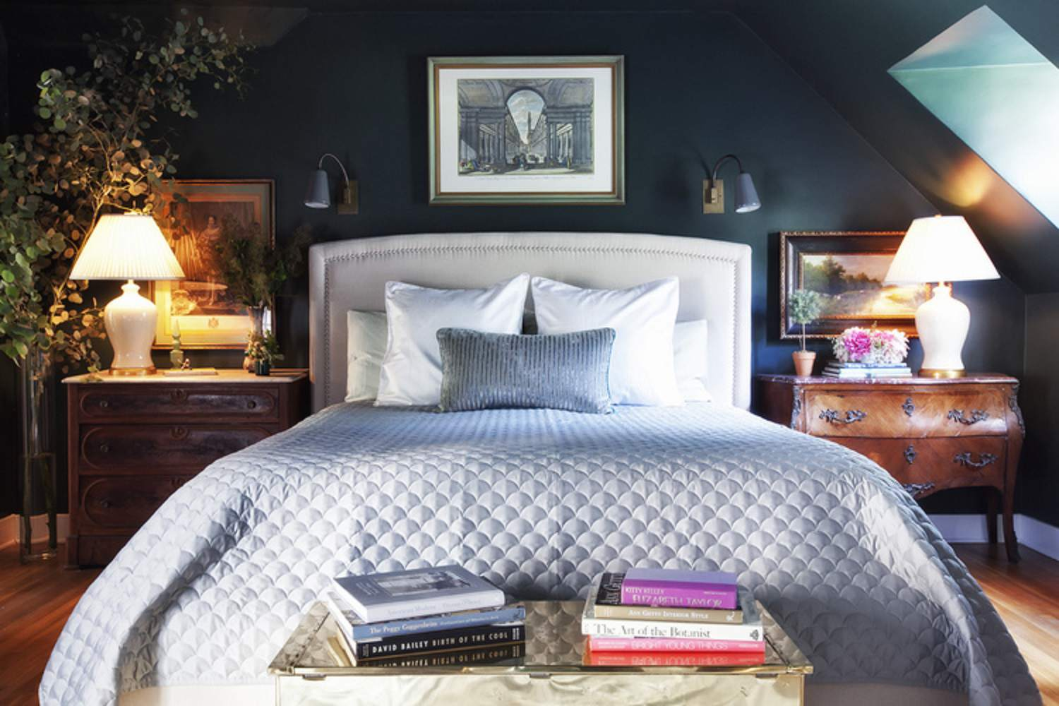 Traditional Bedroom With Dark Walls