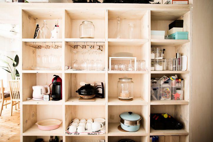 Organized shelves in kitchen