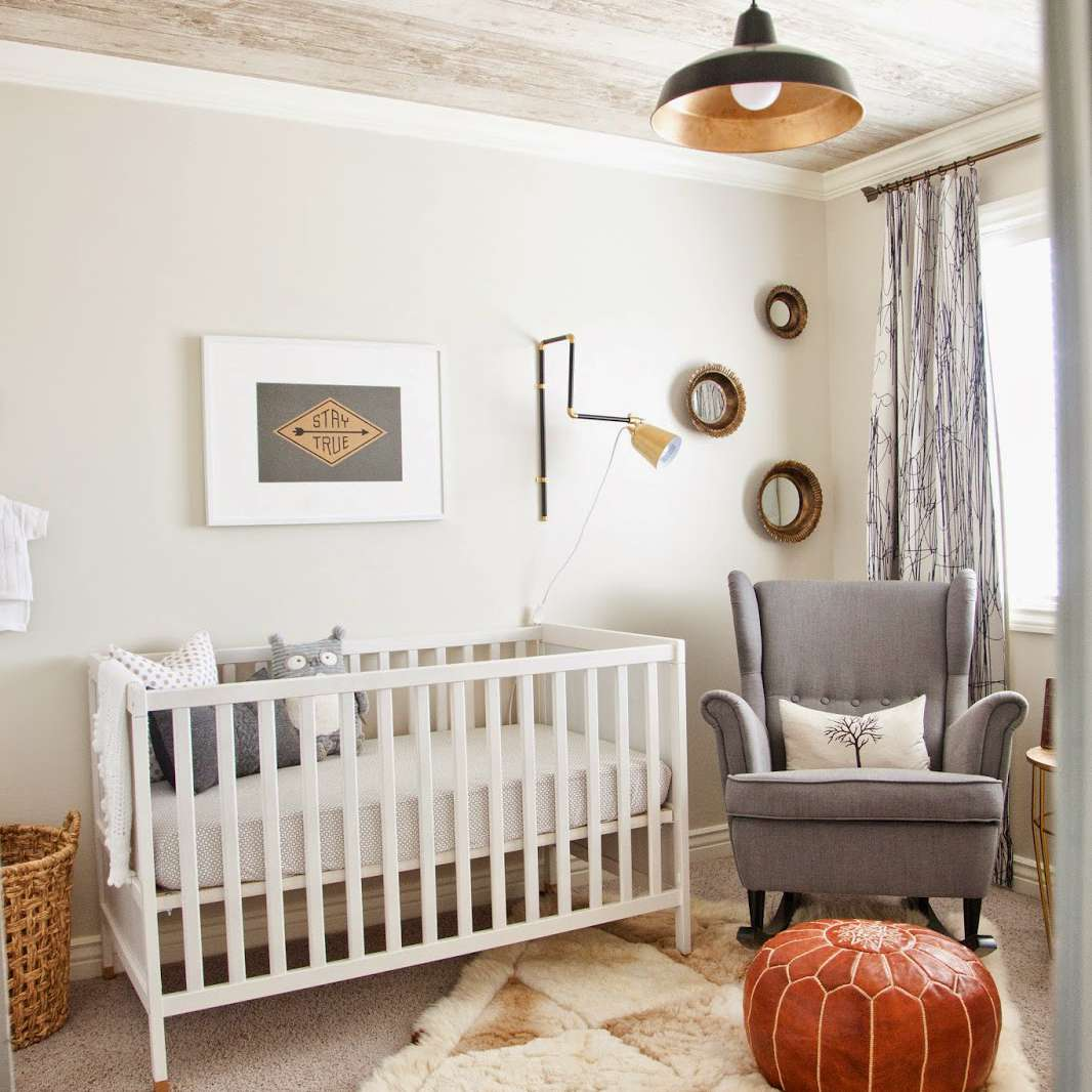 Contemporary nursery with rustic wood-print ceiling