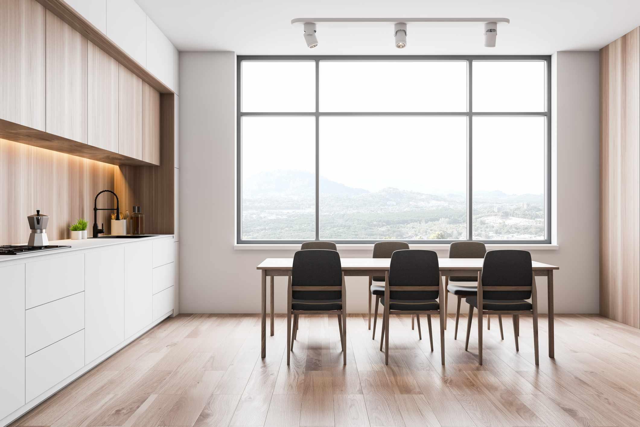 Minimalist wood kitchen backsplash