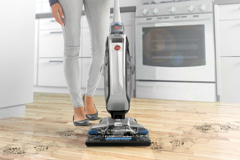 Woman using Hoover FloorMate