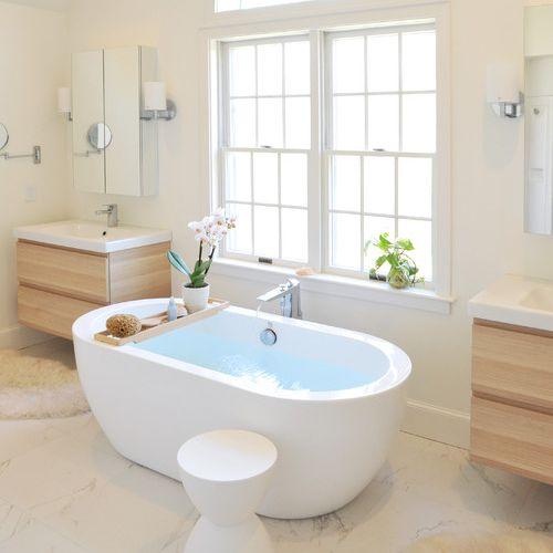 pair of modern bathroom vanities