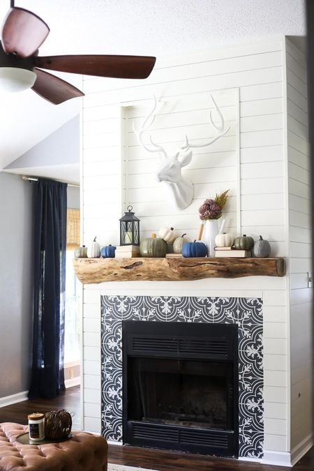 After Remodeled Fireplace With Tile Surround