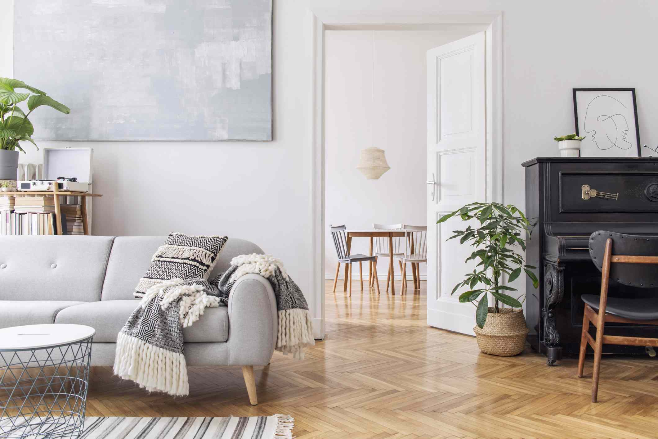 Cozy Scandi style living room with piano