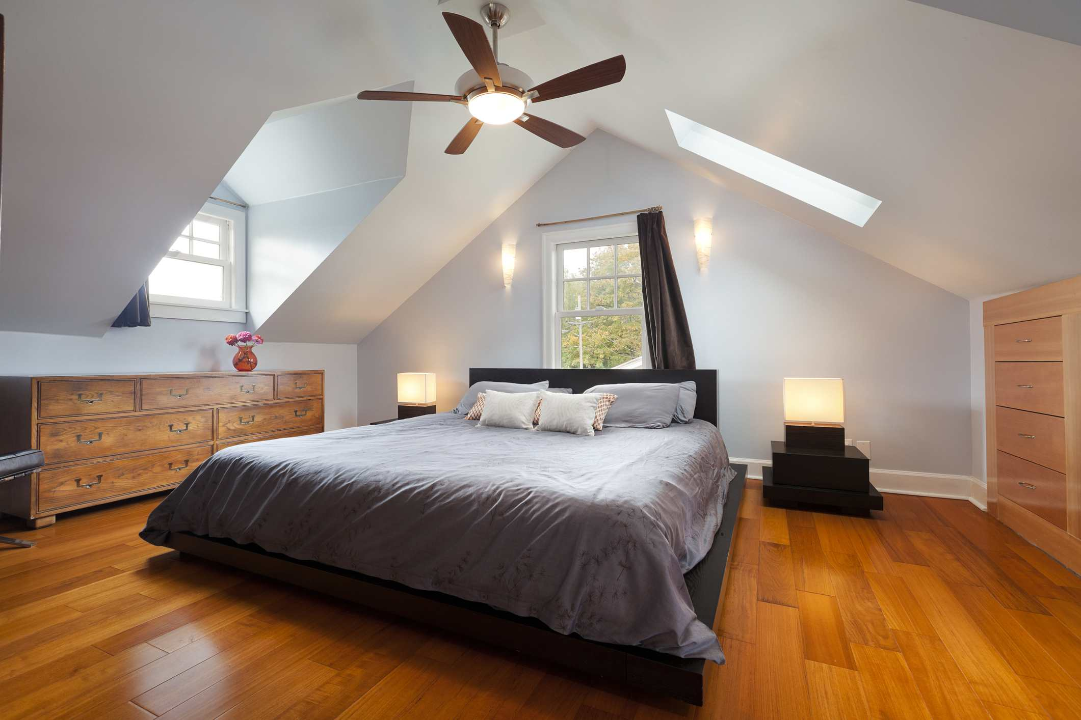 Attic with ceiling fan
